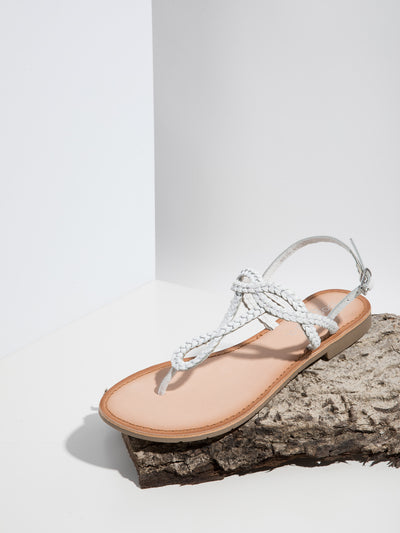 Bos&Co White Buckle Sandals