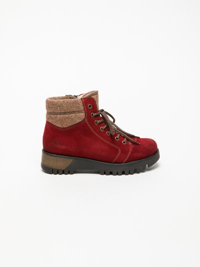 Bos&Co Red Lace-up Ankle Boots