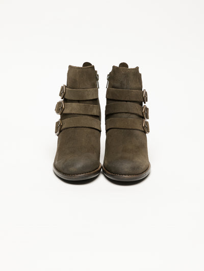 Bos&Co Khaki Buckle Ankle Boots