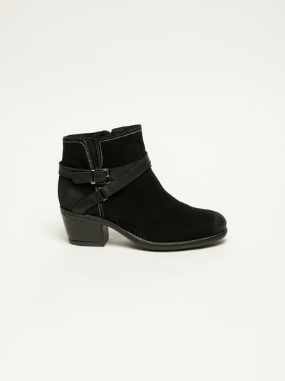 Bos&Co Black Buckle Ankle Boots