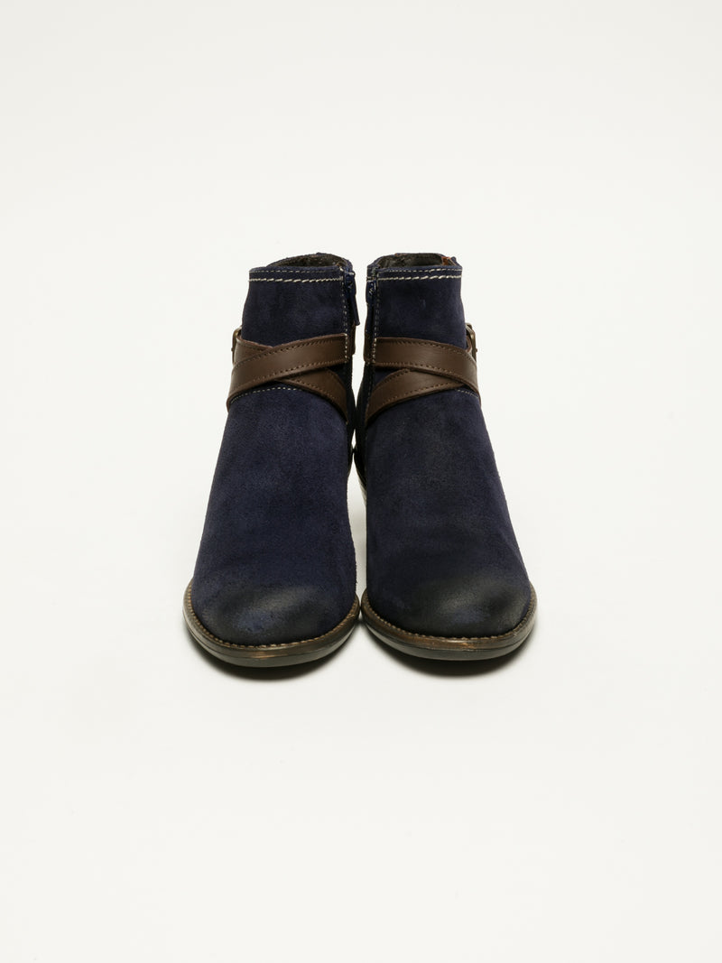 Navy Buckle Ankle Boots