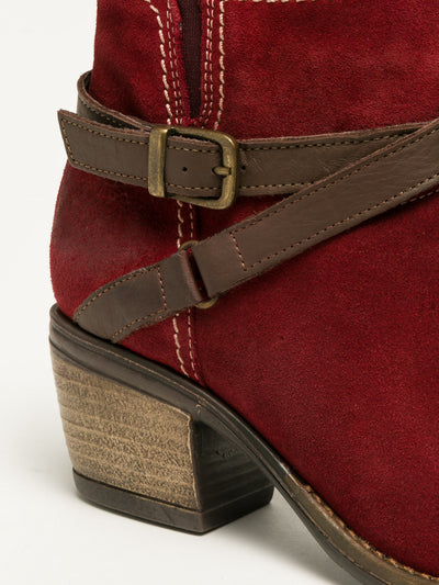 Bos&Co Red Buckle Ankle Boots