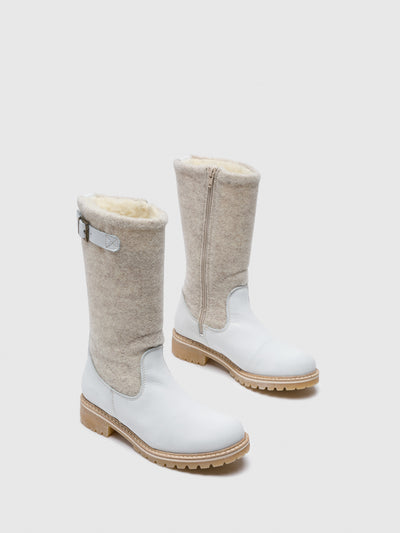 Bos&Co White Zip Up Boots