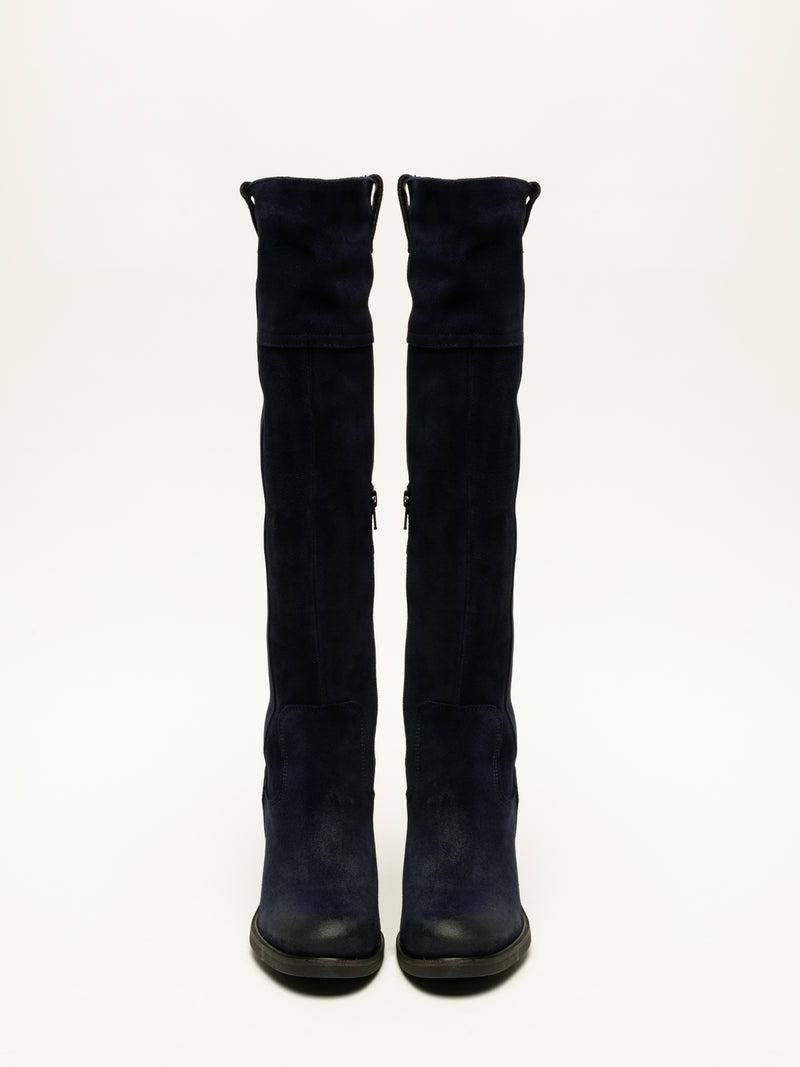 Blue Knee-High Boots