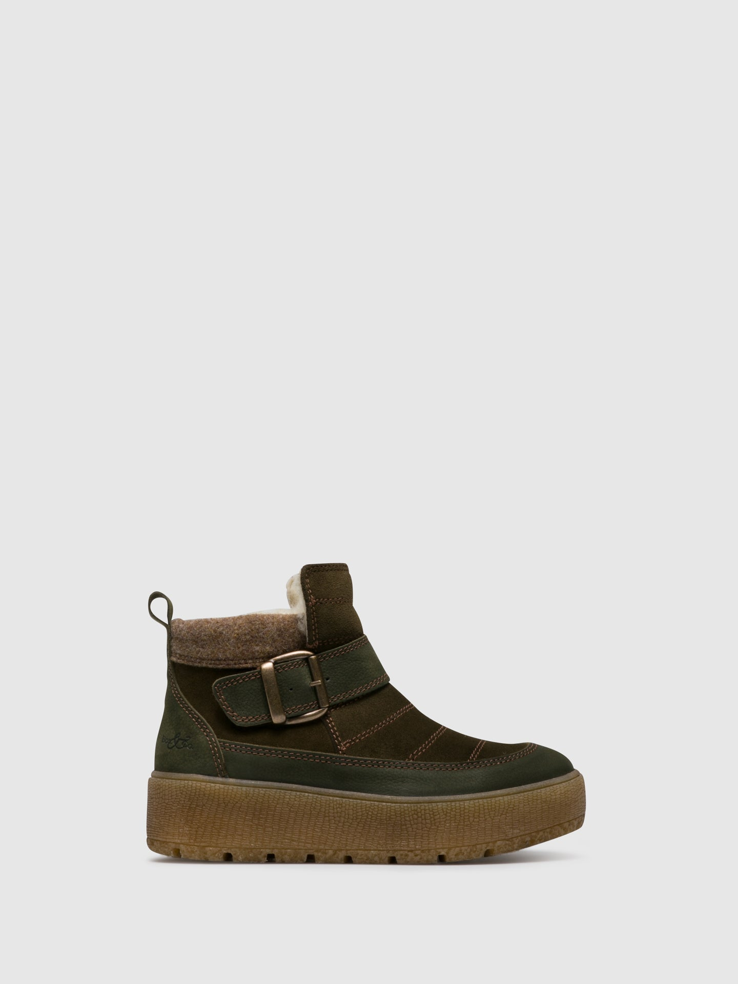 Bos&Co Green Zip Up Ankle Boots