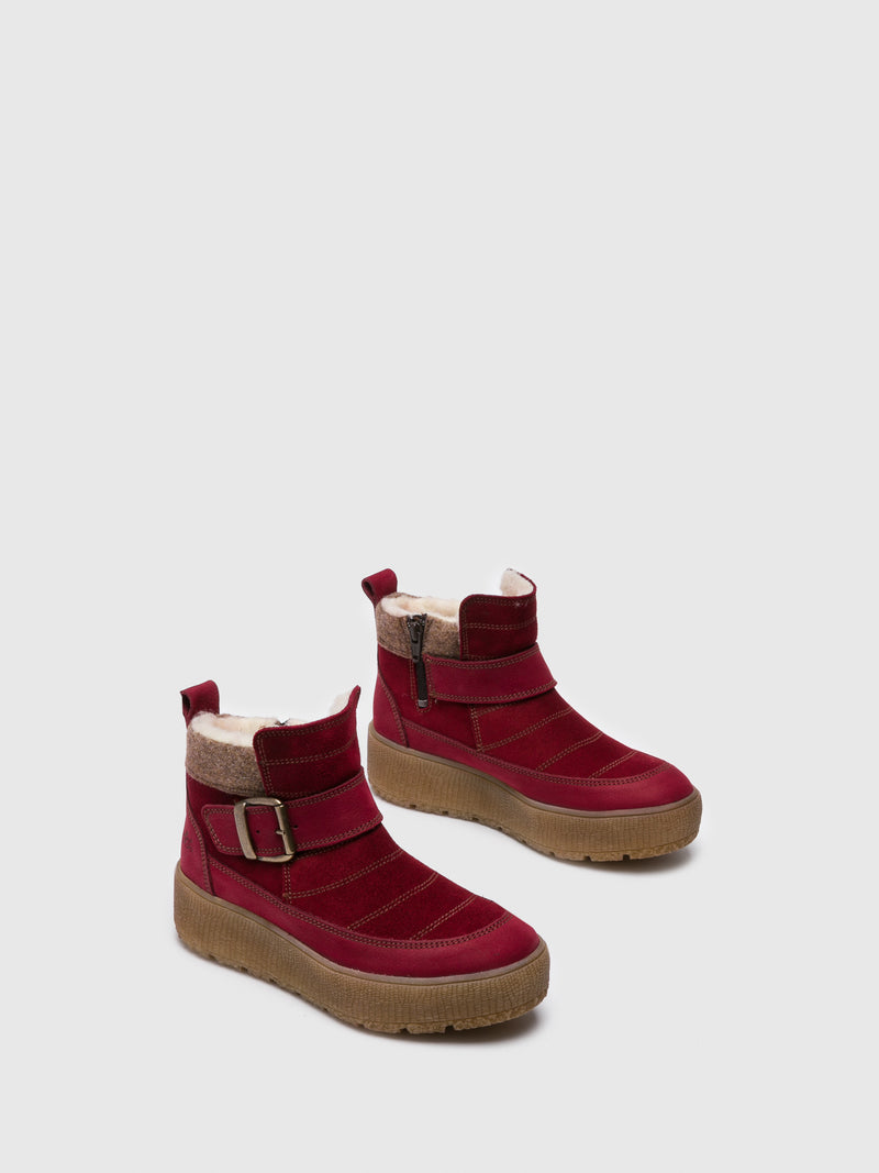 Bos&Co Red Zip Up Ankle Boots
