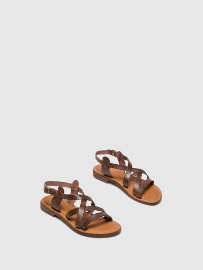 Bos&Co SaddleBrown Sling-Back Sandals