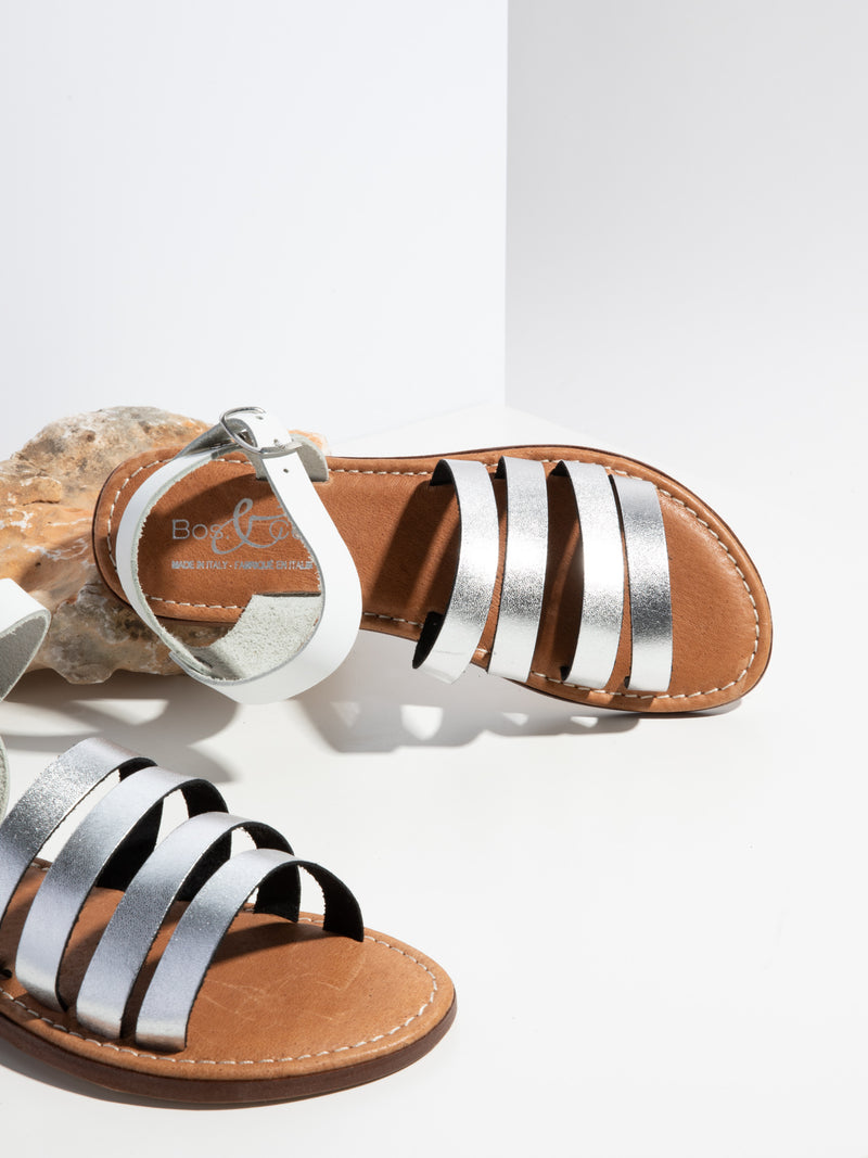 Bos&Co Silver Strappy Sandals