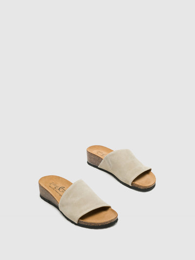 Bos&Co Beige Open Toe Mules