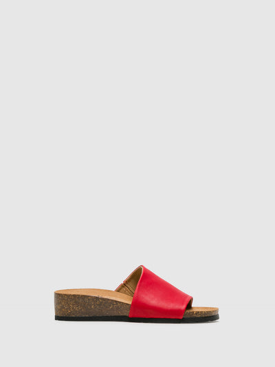Bos&Co Red Open Toe Mules