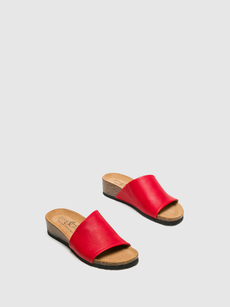 Red Open Toe Mules