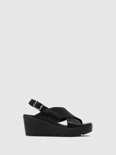 Bos&Co Black Strappy Sandals