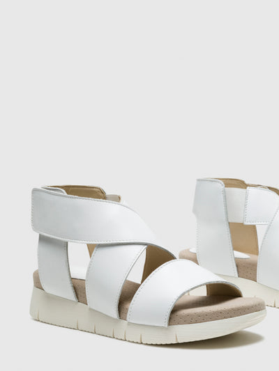 Bos&Co White Strappy Sandals
