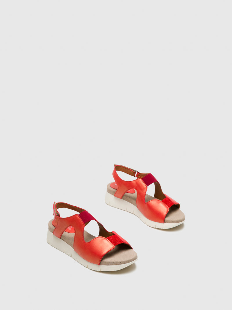 Bos&Co Orange Velcro Sandals