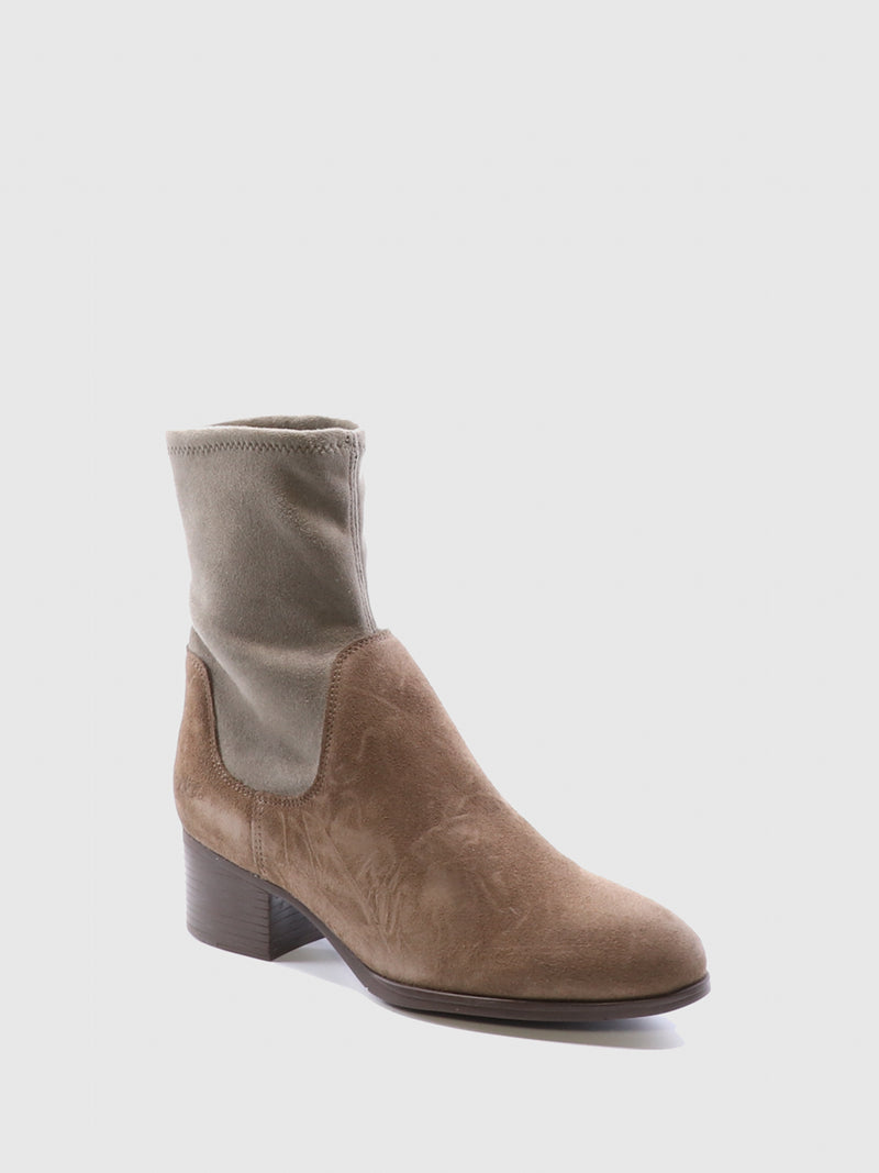 Bos&Co Beige Sock Ankle Boots