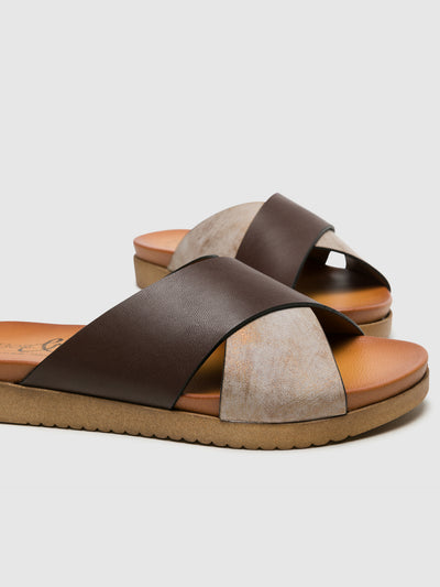 Bos&Co Brown Open Toe Mules
