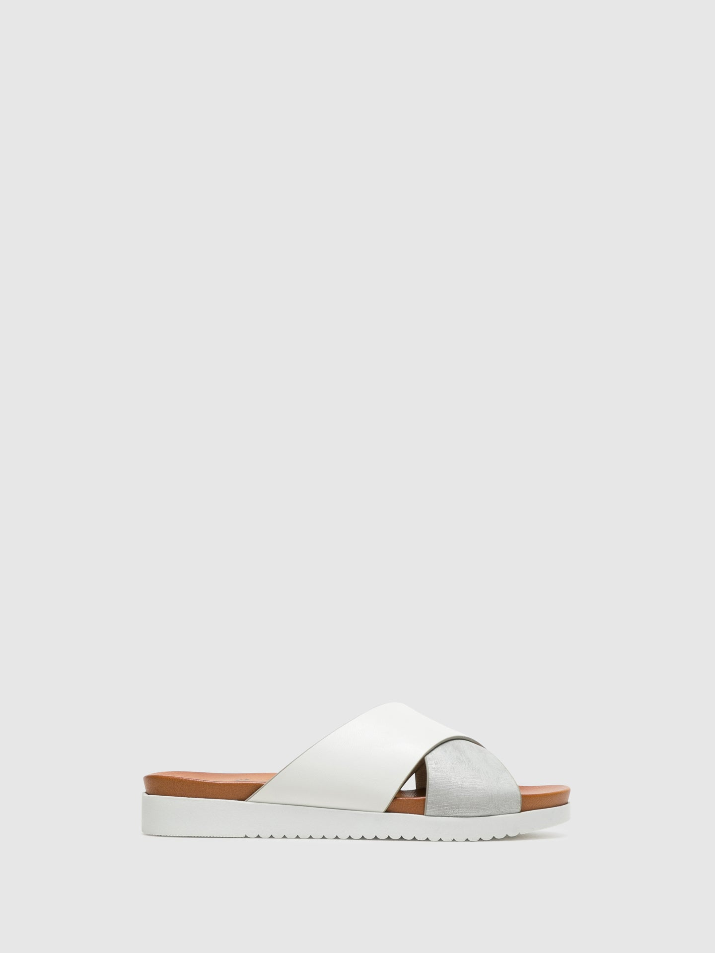 Bos&Co White Open Toe Mules