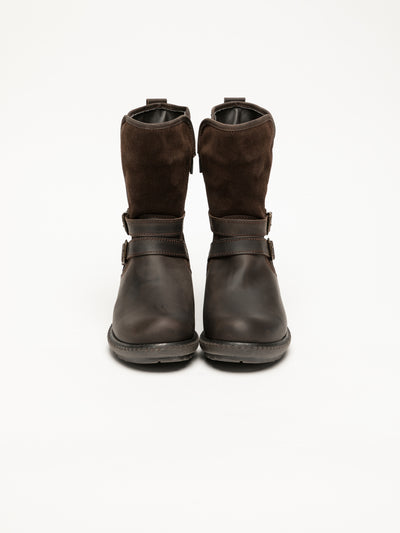Bos&Co Brown Buckle Ankle Boots