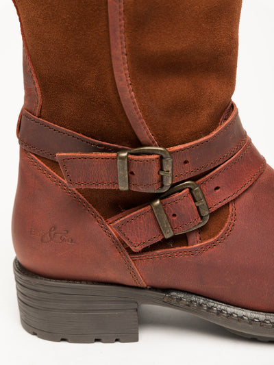 Bos&Co Orange Buckle Ankle Boots