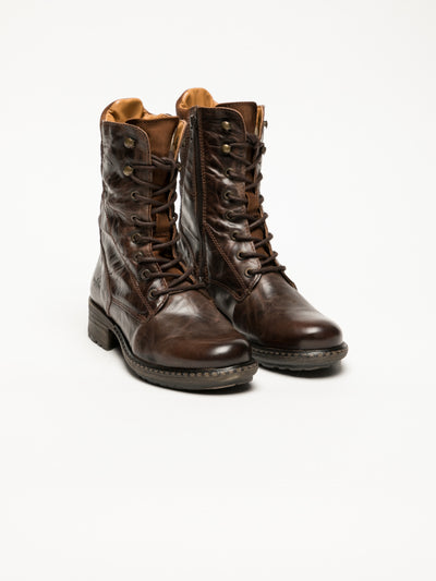 Bos&Co Brown Lace-up Ankle Boots