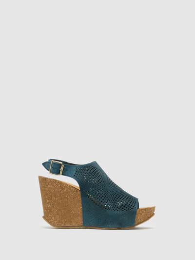 Bos&Co Blue Wedge Sandals