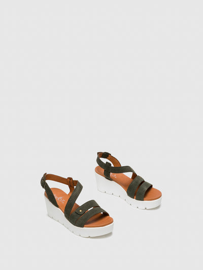 Bos&Co Khaki Buckle Sandals