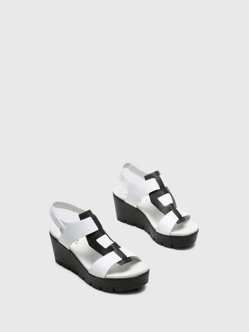 Bos&Co White T-Strap Sandals