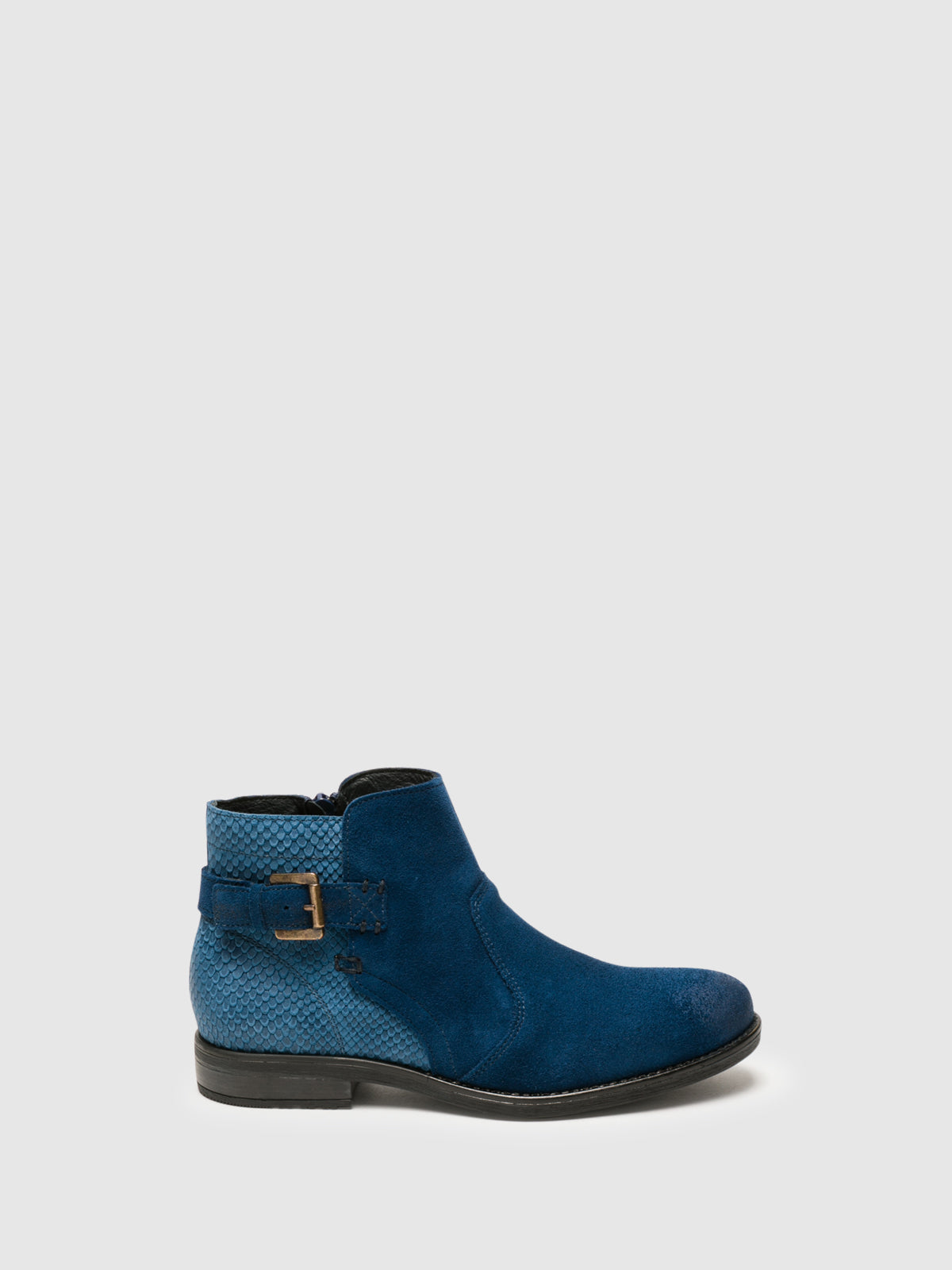Bos&Co Blue Zip Up Ankle Boots