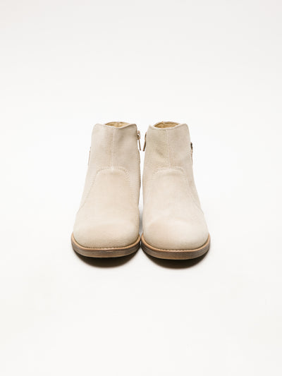 Bos&Co Beige Zip Up Ankle Boots