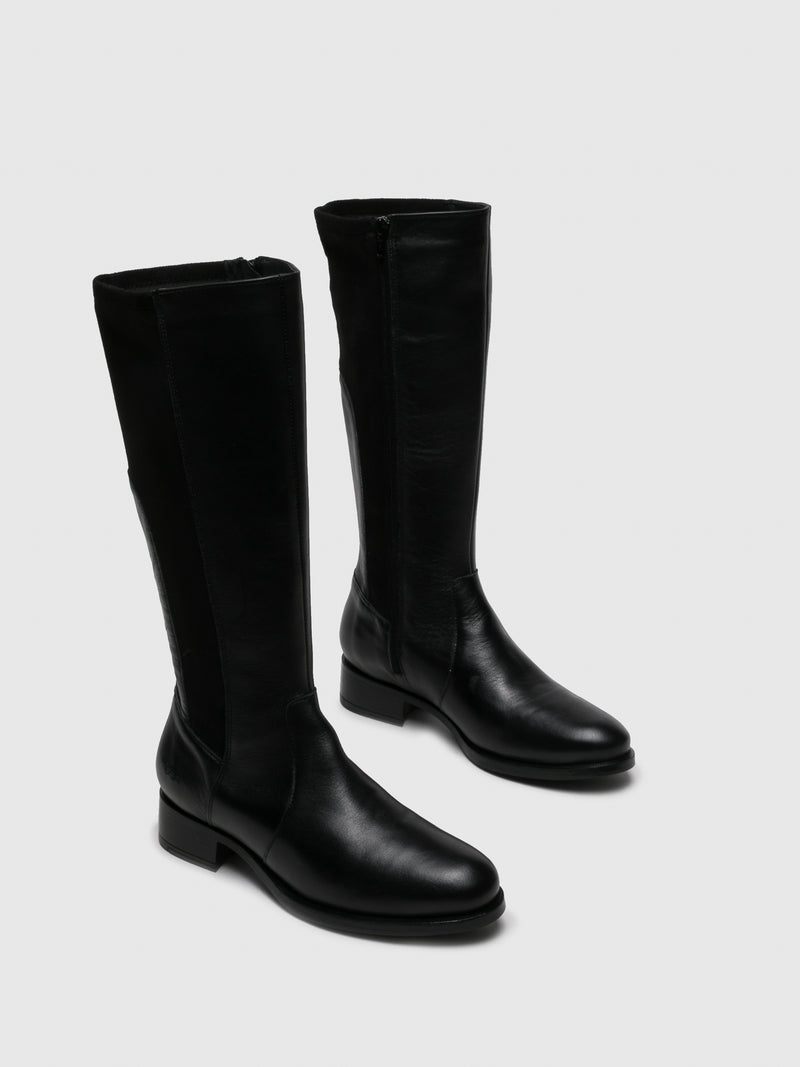 Bos&Co Black Leather Knee-High Boots