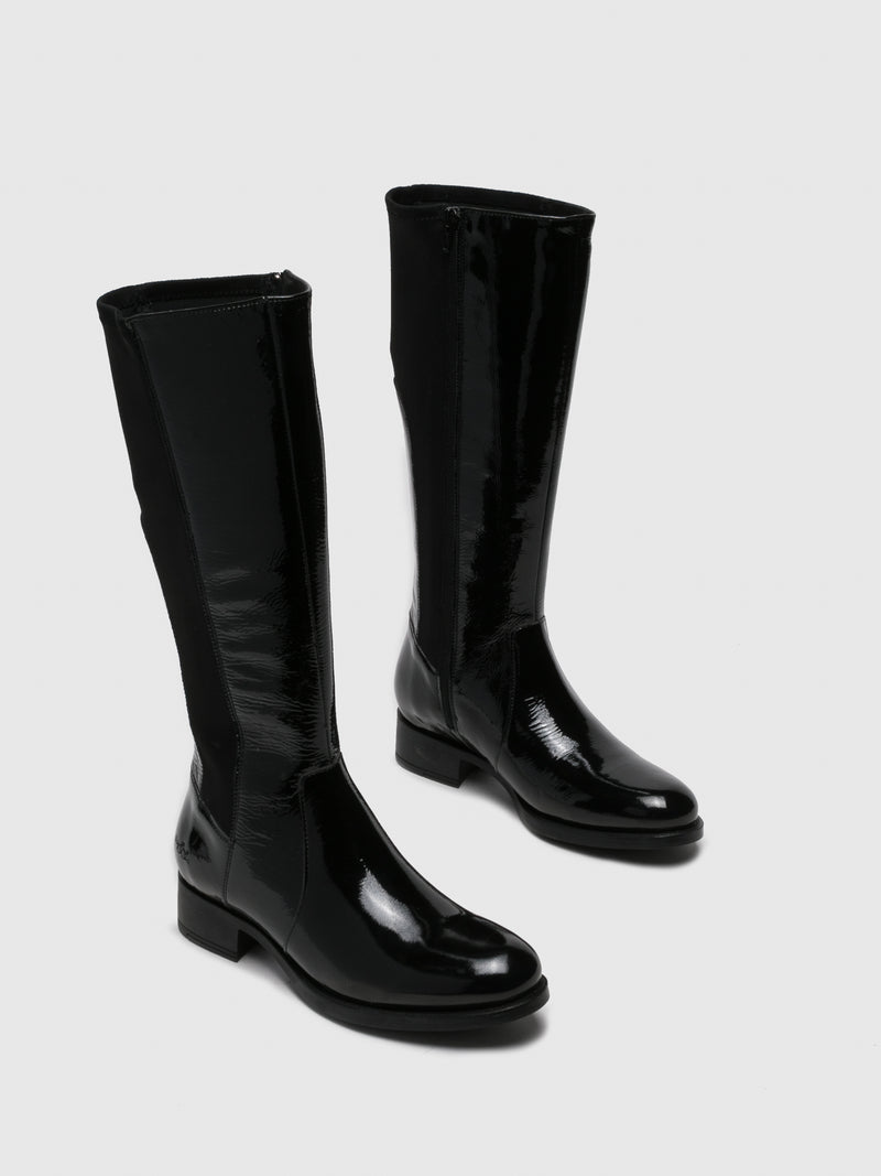 Gloss Black Knee-High Boots