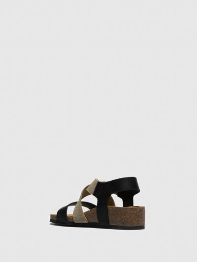 Bos&Co Black Crossover Sandals
