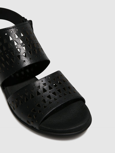 Bos&Co Black Sling-Back Sandals
