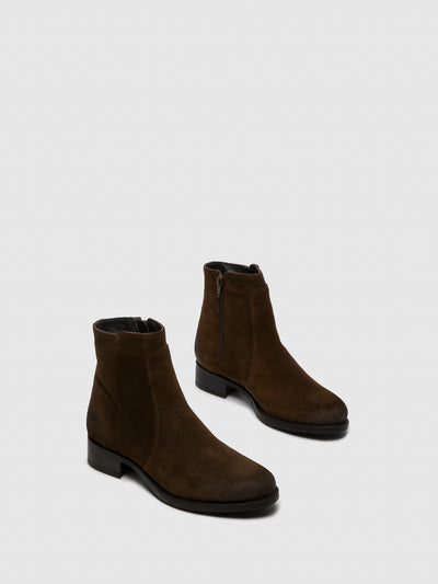 Bos&Co Brown Zip Up Ankle Boots