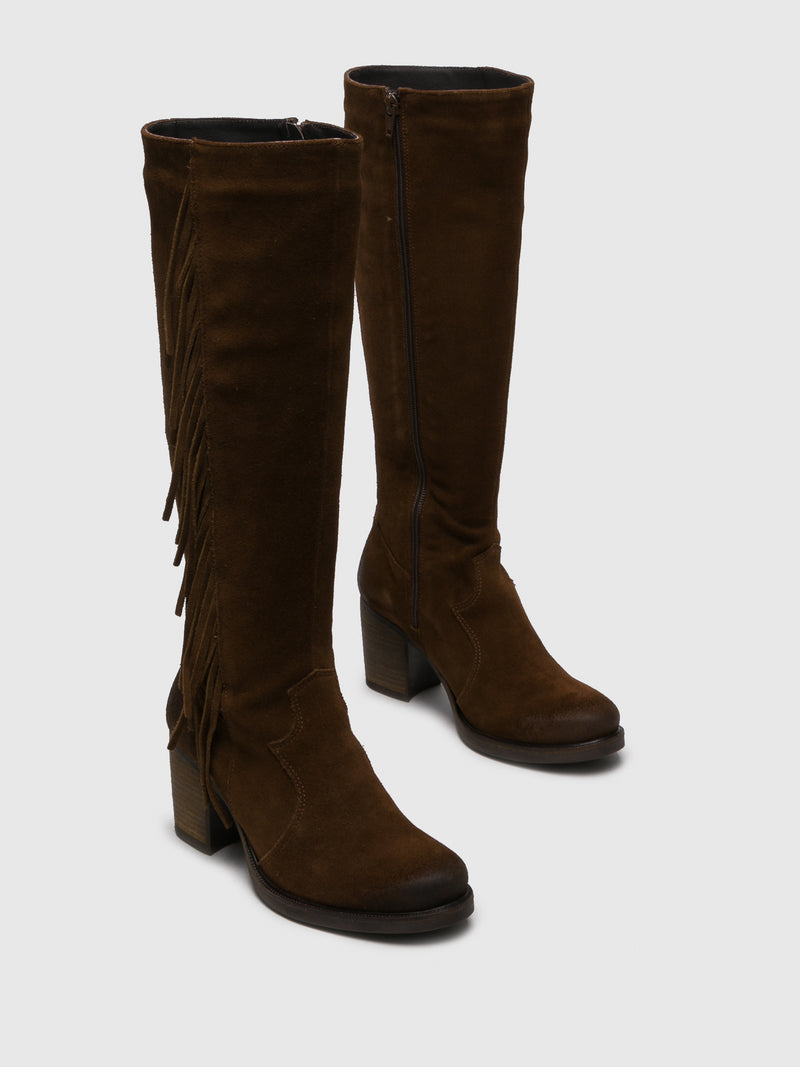 Brown Suede Knee-High Boots