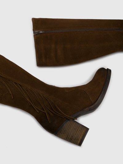 Bos&Co Brown Suede Knee-High Boots