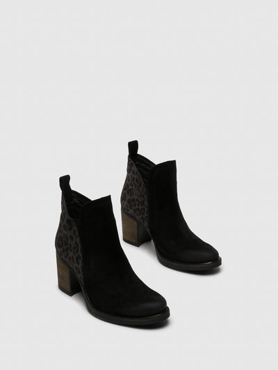 Bos&Co Gray Black Round Toe Ankle Boots