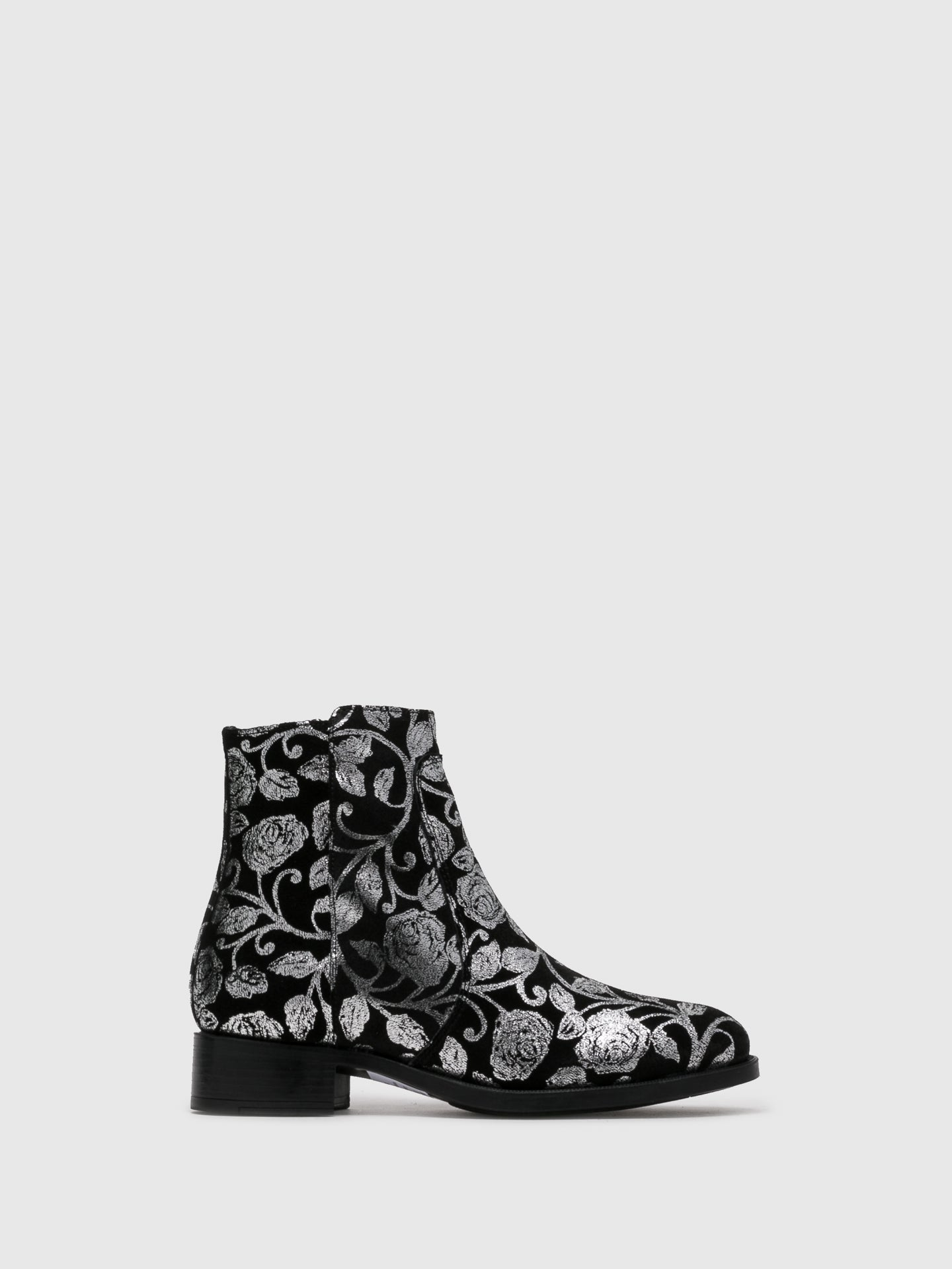 Bos&Co Silver Black Zip Up Ankle Boots