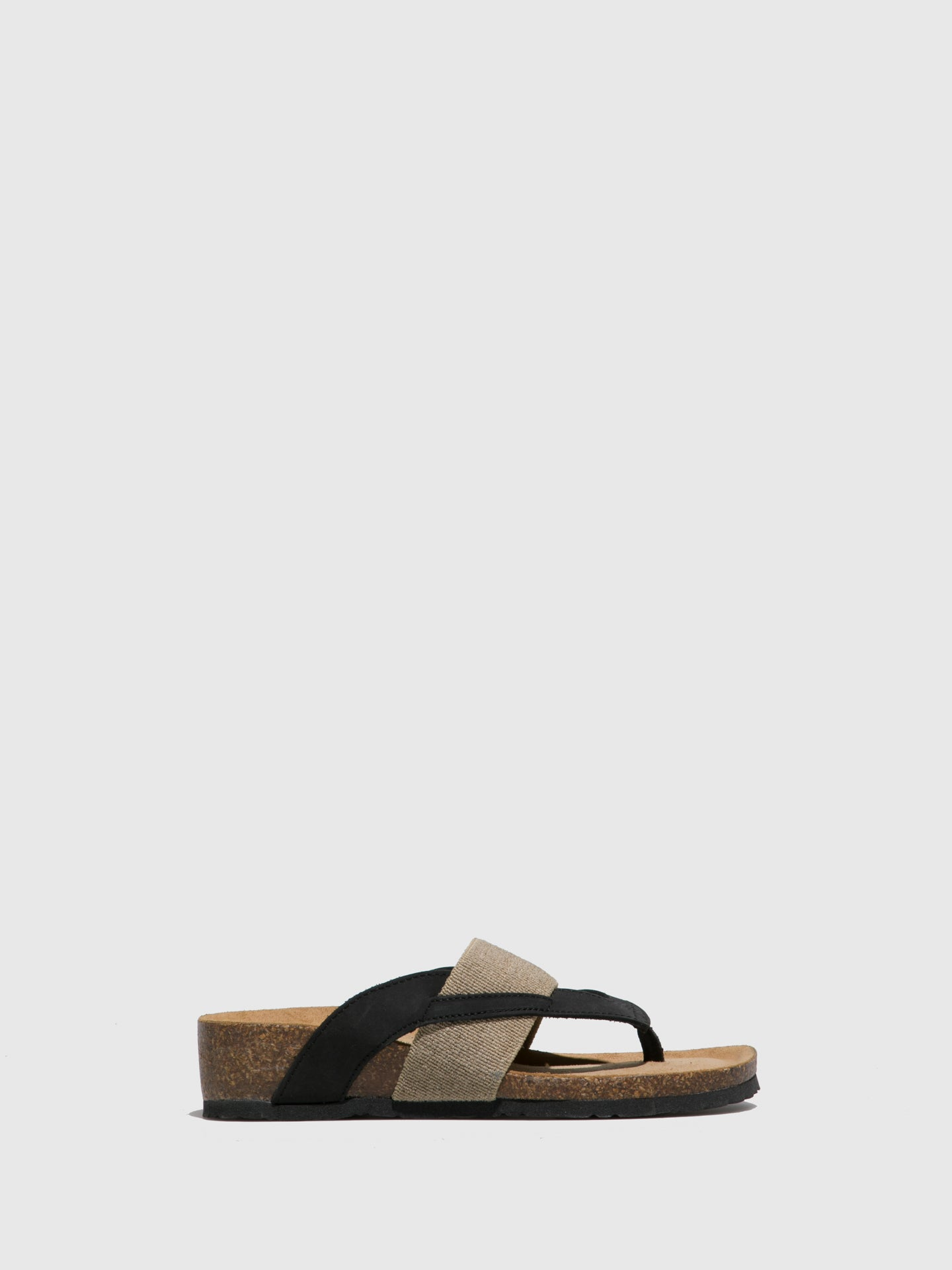 Bos&Co Tan Black Thong Flip-Flops