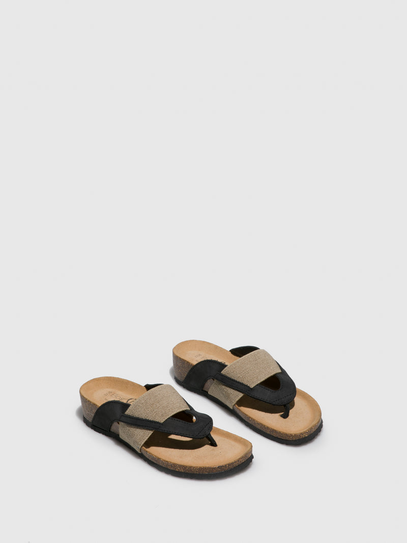 Tan Black Thong Flip-Flops