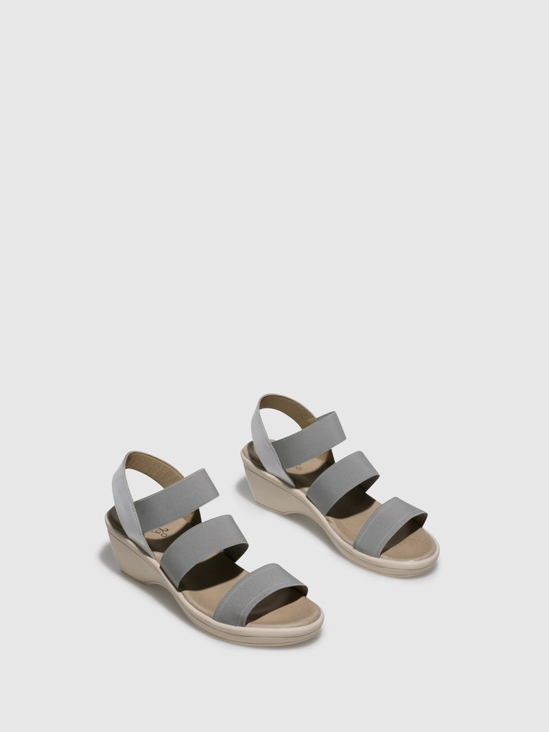 Bos&Co Gray White Sling-Back Sandals