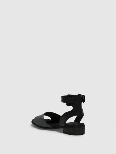 Bos&Co Gray Black Ankle Strap Sandals