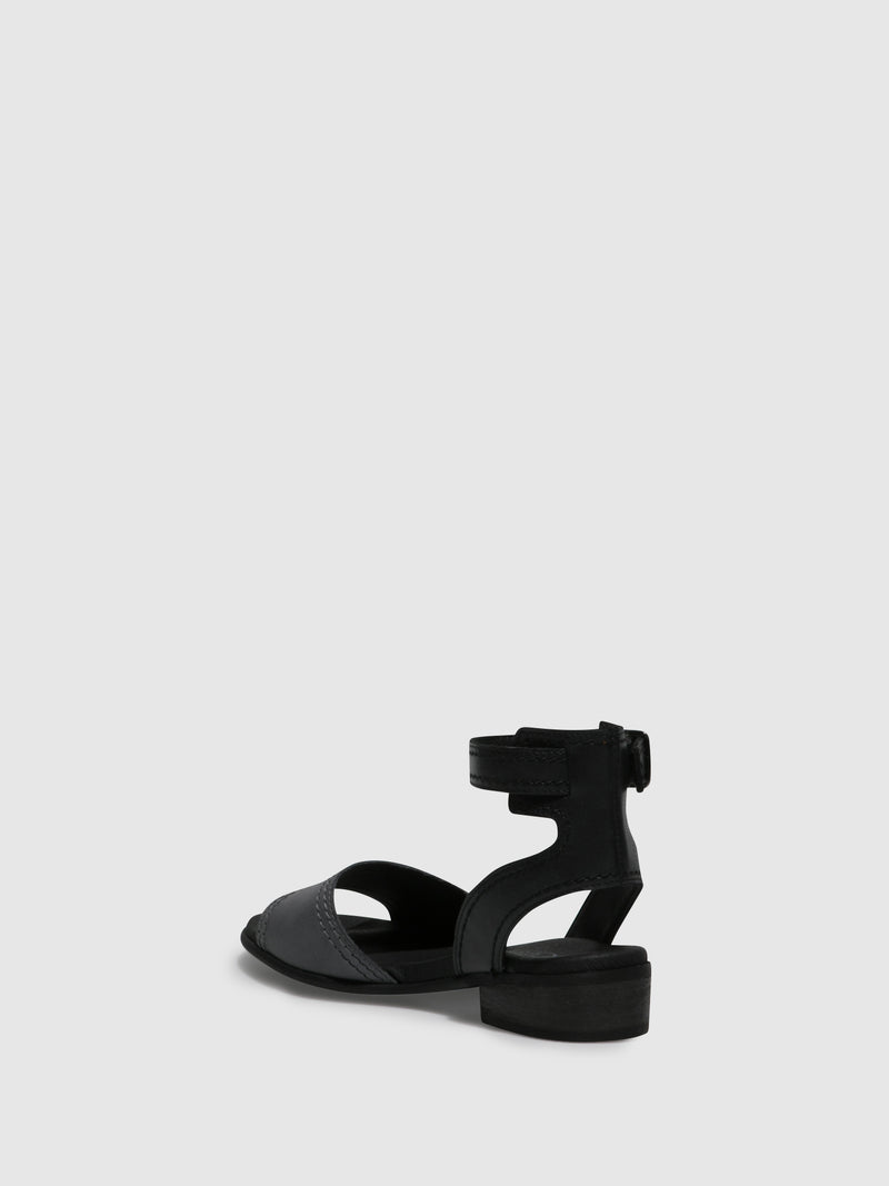 Gray Black Ankle Strap Sandals