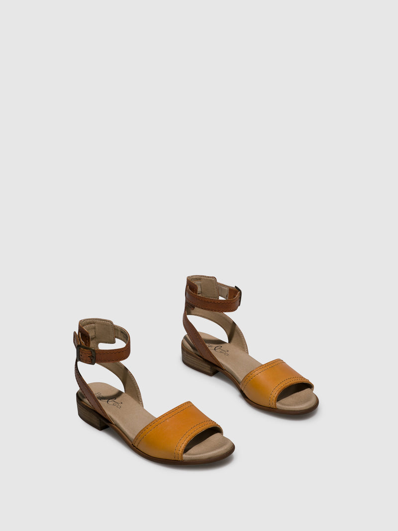 Yellow Tan Ankle Strap Sandals