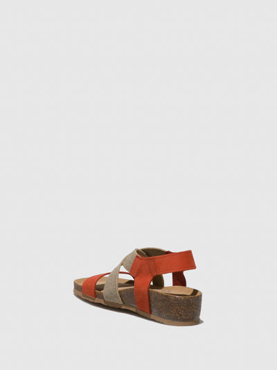 Bos&Co Orange Crossover Sandals