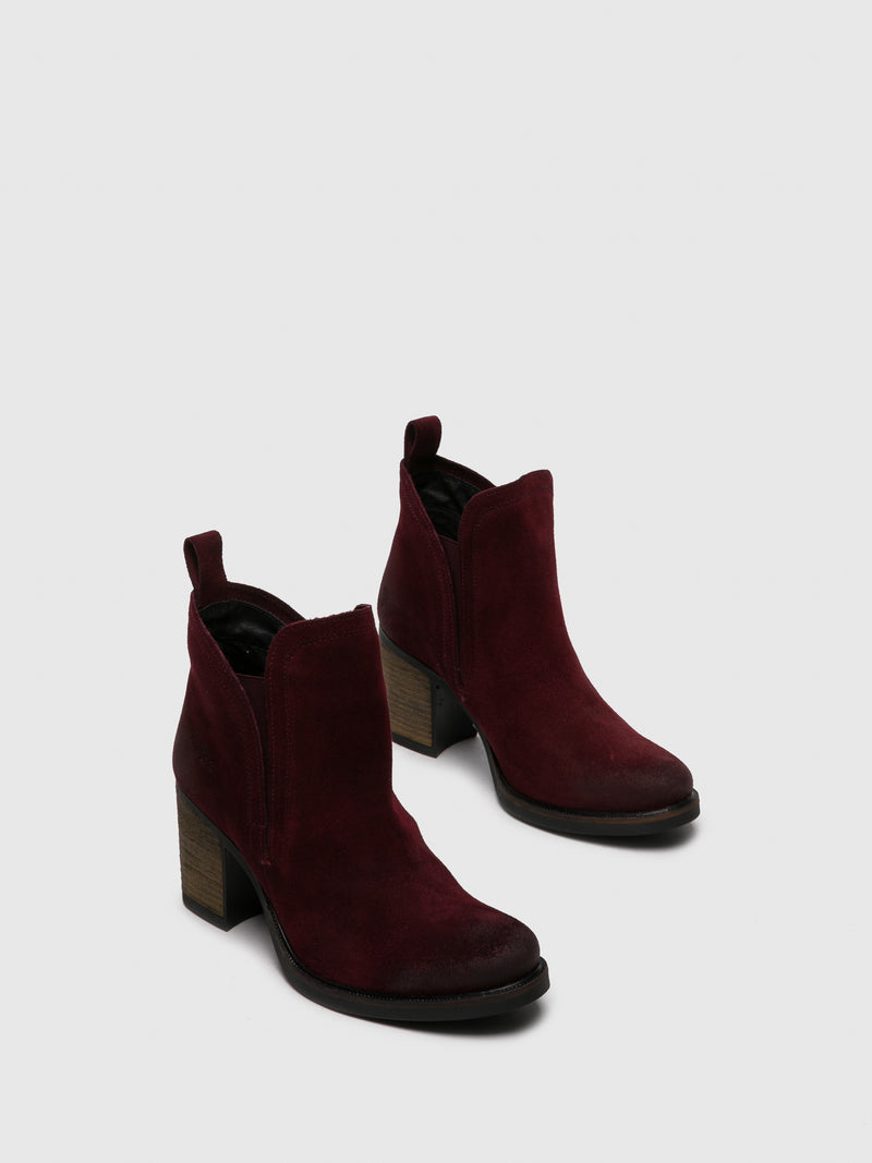 DarkRed Round Toe Ankle Boots