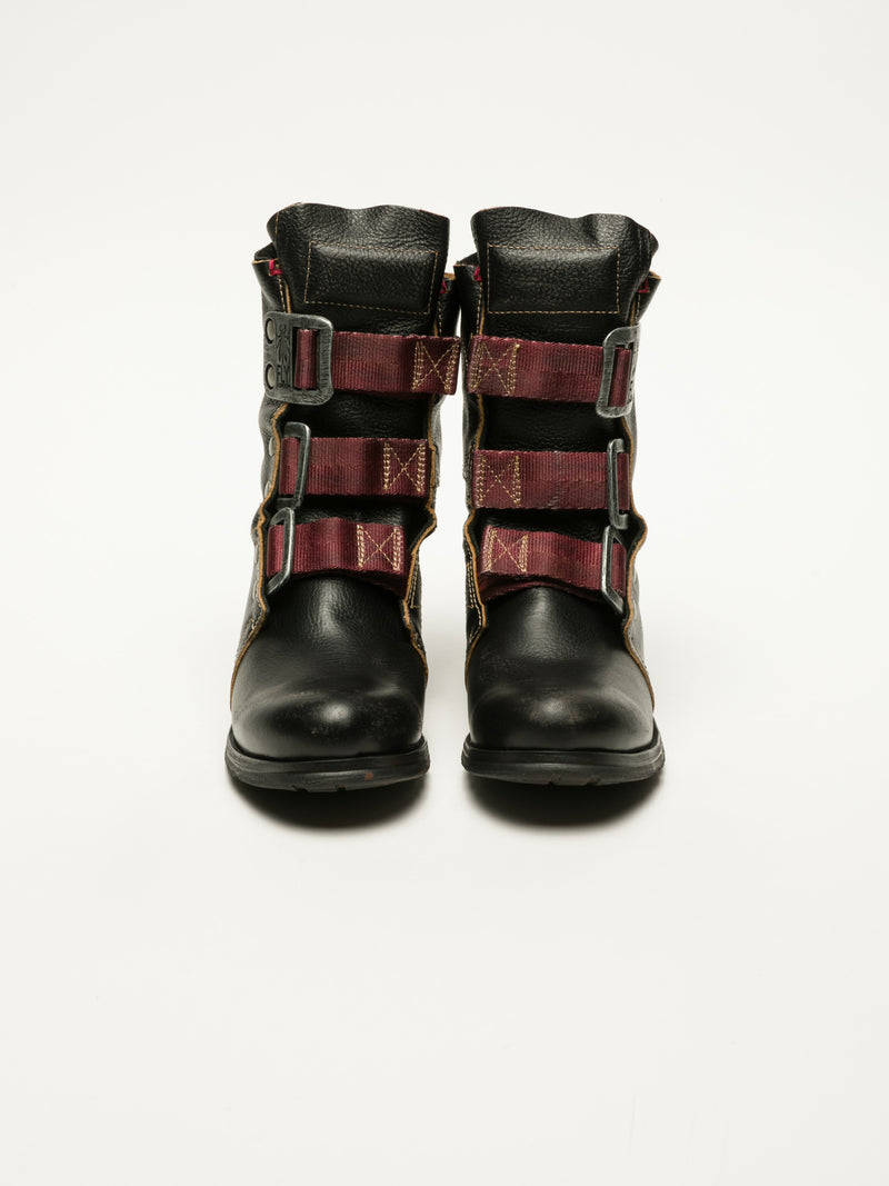 Coal Black Buckle Ankle Boots