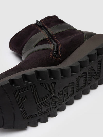 Fly London Purple Zip Up Ankle Boots