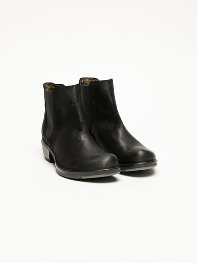 Fly London Matte Black Chelsea Ankle Boots