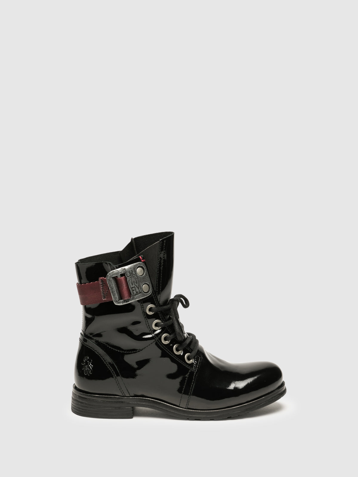 Fly London Matte Black Lace-up Ankle Boots
